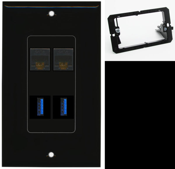 2 Port Cat6 2 USB 3.0 A-A Wall Plate DecorZ Black w/Mounting Bracket
