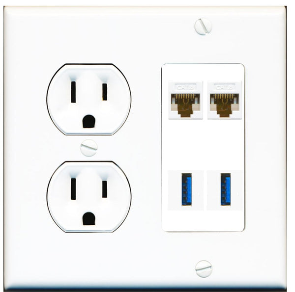 2 Port Cat6 2 USB 3.0 A-A Wall Plate w/Round Power Outlet
