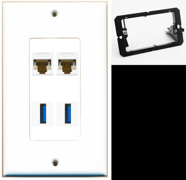 2 Port Cat6 2 USB 3.0 A-A Wall Plate DecorZ White w/Mounting Bracket