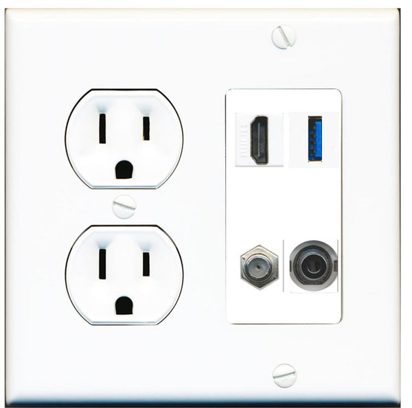 1 Port HDMI Coax 3.5mm USB 3.0 Wall Plate w/Round Power Outlet