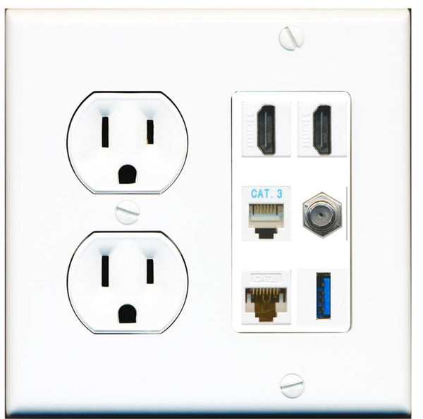 2 Port HDMI Coax Cat6 Phone USB Wall Plate w/Round Power Outlet