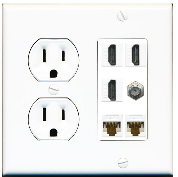 3 Port HDMI Coax 2 Cat6 Ethernet Wall Plate w/Round Power Outlet