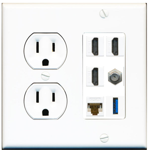 3 Port HDMI Coax Cat6 Ethernet USB Wall Plate w/Round Power Outlet