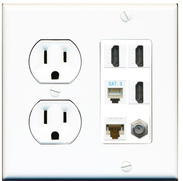 3 Port HDMI Coax Cat6 Phone Wall Plate w/Round Power Outlet