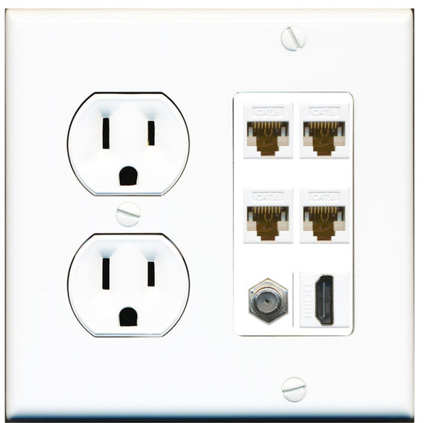 4 Port Cat6 Ethernet Coax 1 HDMI Wall Plate w/Round Power Outlet