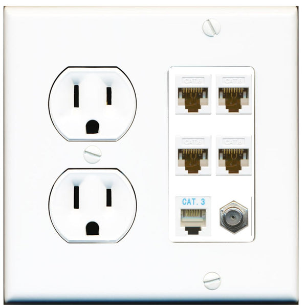 4 Port Cat6 Ethernet Coax Phone Wall Plate w/Round Power Outlet