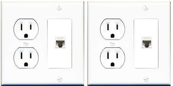 1 Port Cat6 Wall Plate w/Round Power Outlet - 2 Pack