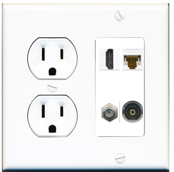 1 Port HDMI Coax Cat6 Toslink Wall Plate w/Round Power Outlet