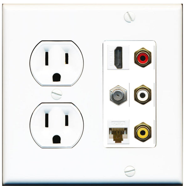 1 Port HDMI Cat6 Coax Composite RCA Wall Plate w/Round Power Outlet