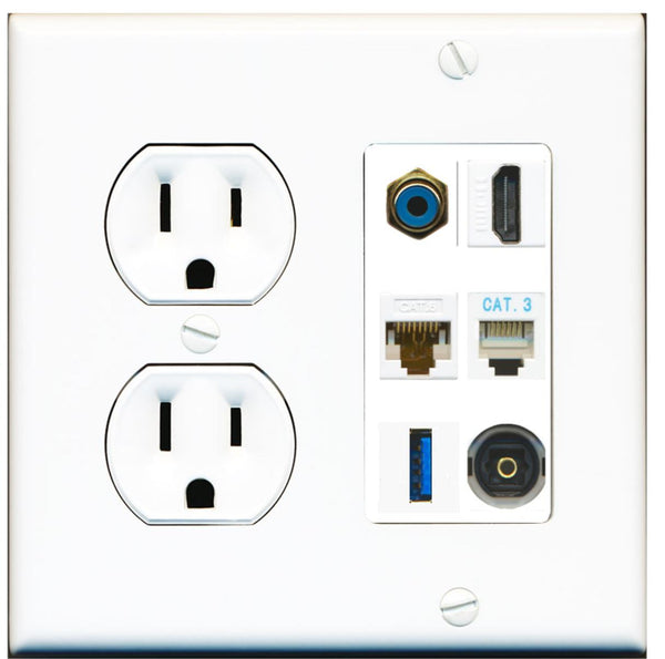 1 Port HDMI Cat6 RCA Phone USB Toslink Wall Plate w/Round Power Outlet
