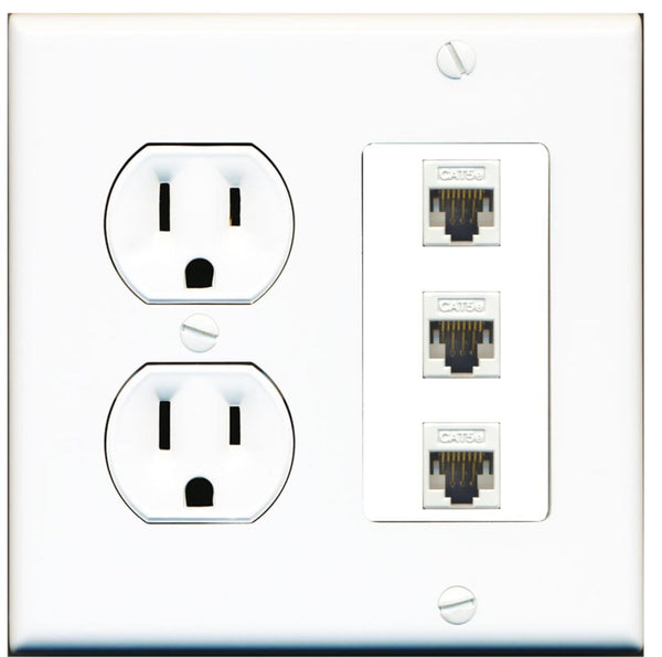 3 Port Cat5e Ethernet RJ45 Wall Plate w/Round Power Outlet