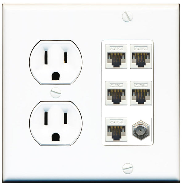 1 Port Coax 5 x Cat5e Ethernet RJ45 Wall Plate w/Round Power Outlet