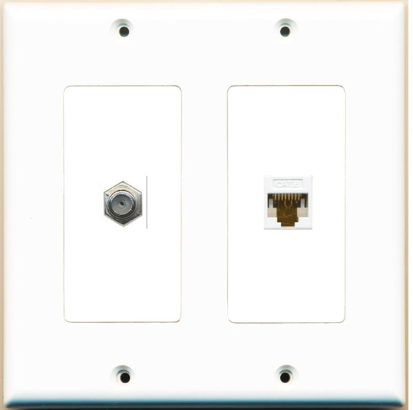 1 Port Cat6 Coax F-F Wall Plate 2 Gang White
