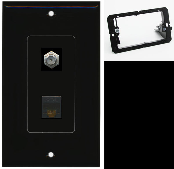 1 Port Cat6 Coax F-F Wall Plate DecorZ Black w/Mounting Bracket