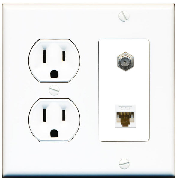 1 Port Cat6 Coax F-F Wall Plate w/Round Power Outlet