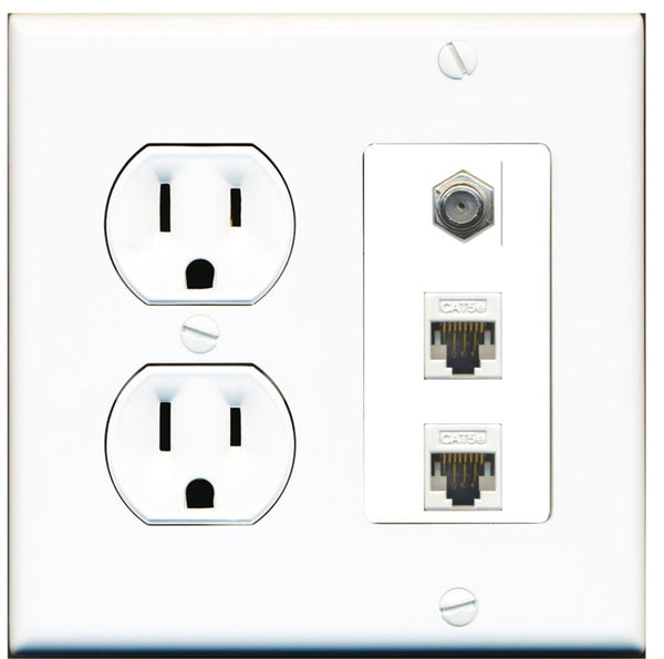 1 Port Coax 2 Port Cat5e Ethernet Wall Plate w/Round Power Outlet