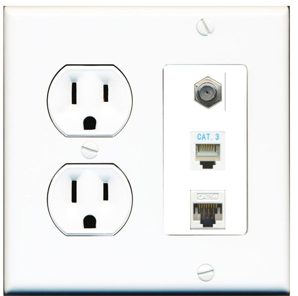 1 Port Coax Phone Cat5e Ethernet Wall Plate w/Round Power Outlet