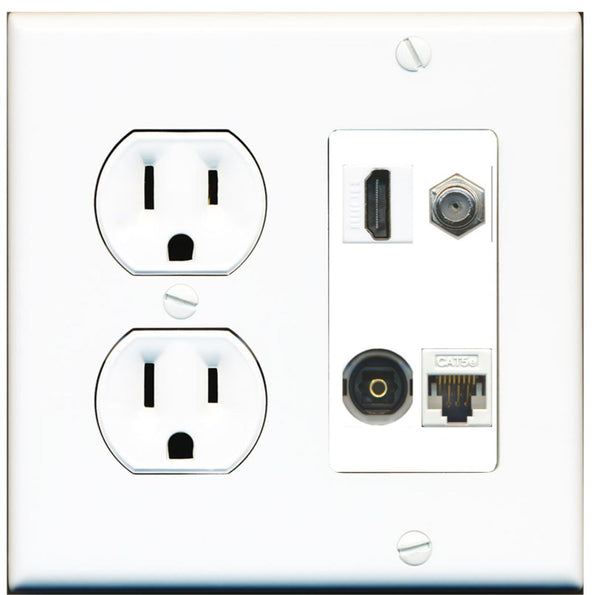 1 Port HDMI Coax Toslink Cat5e Wall Plate w/Round Power Outlet