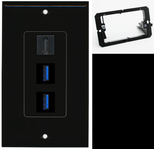 1 Port HDMI 2 Port USB 3.0 A-A Wall Plate DecorZ Black w/Mounting Bracket
