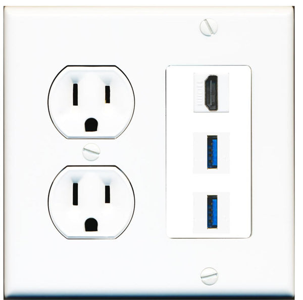 1 Port HDMI 2 Port USB 3.0 A-A Wall Plate w/Round Power Outlet