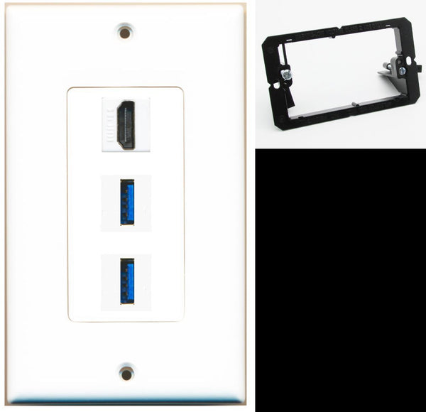 1 Port HDMI 2 Port USB 3.0 A-A Wall Plate DecorZ White w/Mounting Bracket