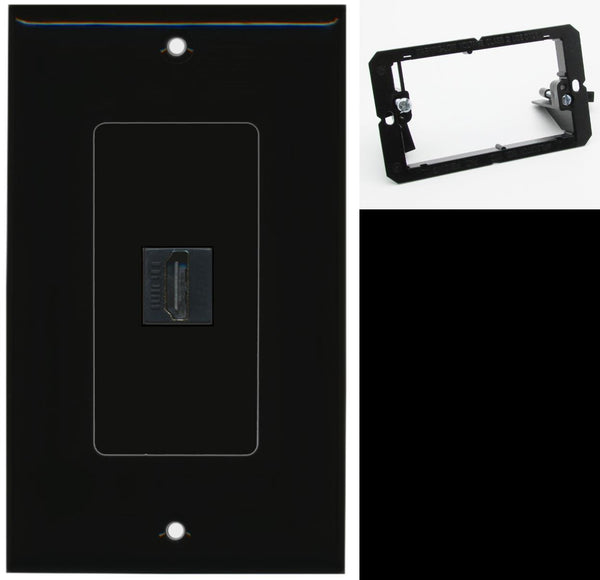 1 Port HDMI 2.0 Wall Plate DecorZ Black w/Mounting Bracket