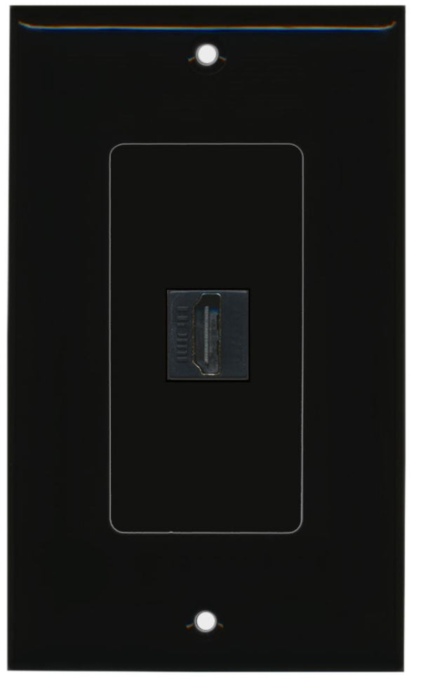 1 Port HDMI 2.0 Wall Plate DecorZ Black