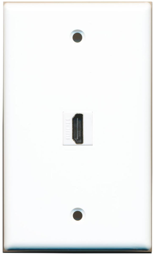 1 Port HDMI 2.0 Wall Plate Solid White