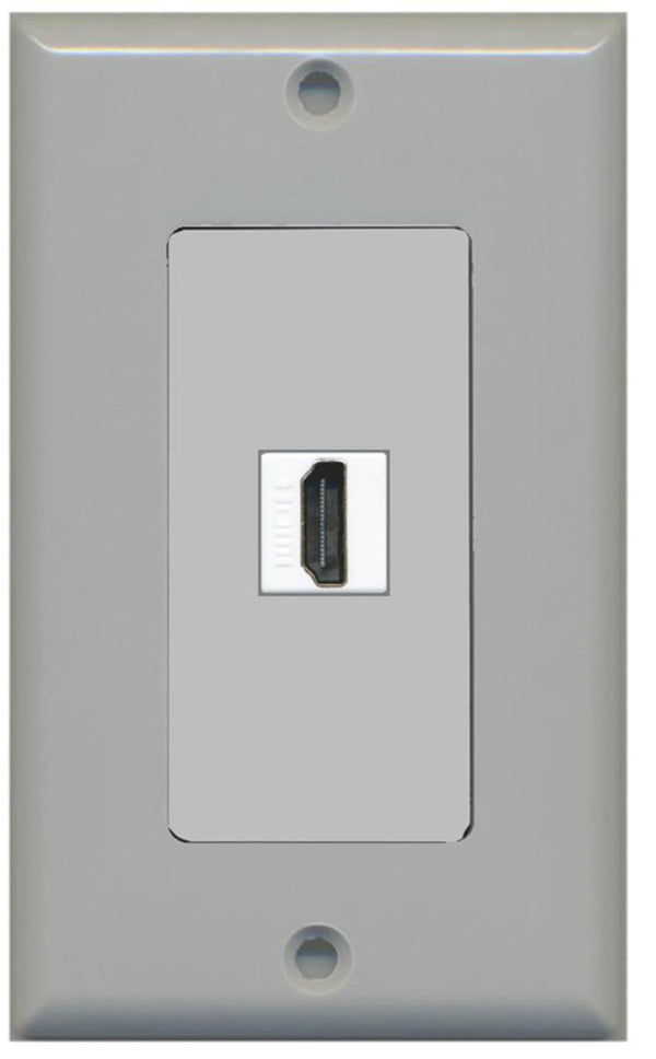 1 Port HDMI 2.0 Wall Plate Gray w/White Jacks