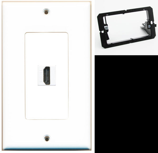 1 Port HDMI 2.0 Wall Plate DecorZ White w/Mounting Bracket