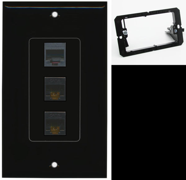 1 Port Phone 2 Port Cat6 Ethernet Wall Plate DecorZ Black w/Mounting Bracket