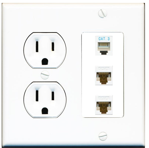 1 Port Phone 2 Port Cat6 Ethernet Wall Plate w/Round Power Outlet