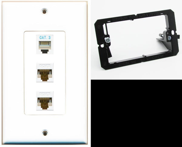 1 Port Phone 2 Port Cat6 Ethernet Wall Plate DecorZ White w/Mounting Bracket