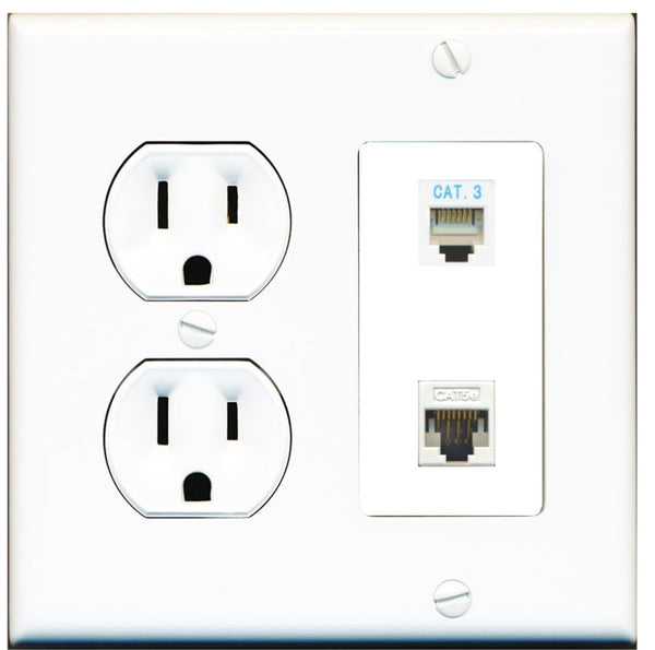 1 Port Phone 1 Cat5e Ethernet Wall Plate w/Round Power Outlet
