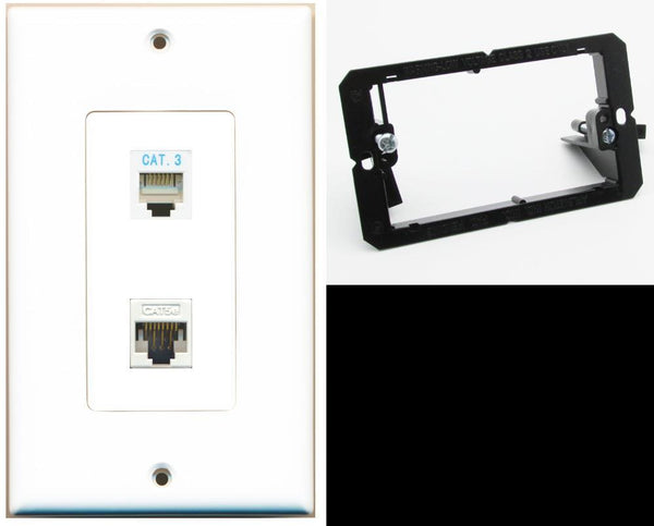 1 Port Phone 1 Cat5e Ethernet Wall Plate DecorZ White w/Mounting Bracket