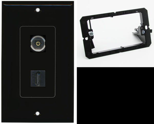 1 Port Toslink-Optical Port 1 HDMI Wall Plate DecorZ Black w/Mounting Bracket