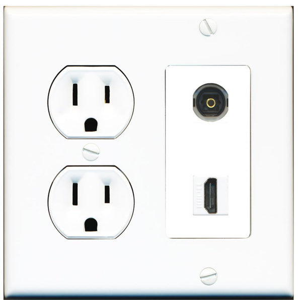 1 Port Toslink-Optical Port 1 HDMI Wall Plate w/Round Power Outlet