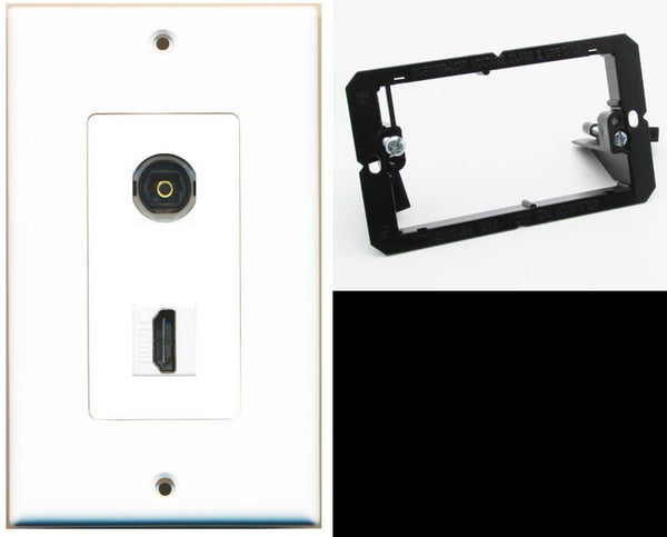 1 Port Toslink-Optical Port 1 HDMI Wall Plate DecorZ White w/Mounting Bracket