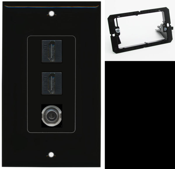 2 Port HDMI 3.5mm Wall Plate DecorZ Black w/Mounting Bracket