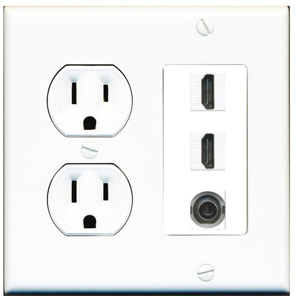 2 Port HDMI 3.5mm Wall Plate w/Round Power Outlet