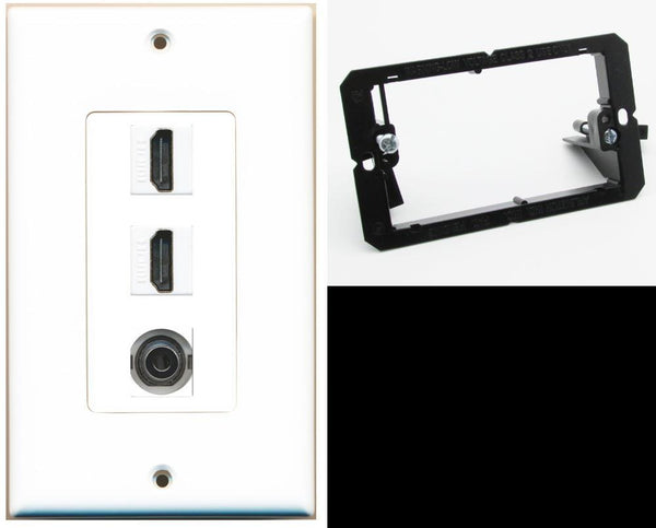 2 Port HDMI 3.5mm Wall Plate DecorZ White w/Mounting Bracket