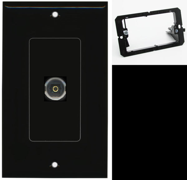 1 Port Toslink-Optical Digital Audio Wall Plate DecorZ Black w/Mounting Bracket
