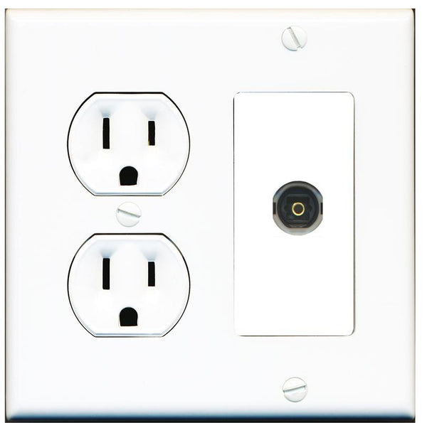1 Port Toslink-Optical Digital Audio Wall Plate w/Round Power Outlet