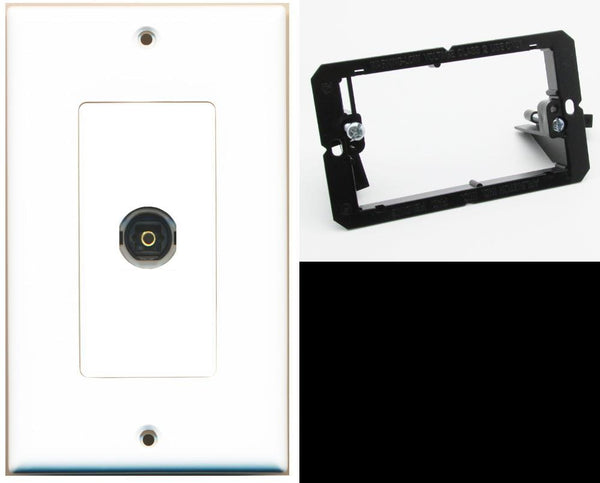 1 Port Toslink-Optical Digital Audio Wall Plate DecorZ White w/Mounting Bracket