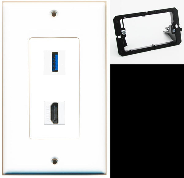 1 Port USB 3.0 A-A HDMI Wall Plate DecorZ White w/Mounting Bracket