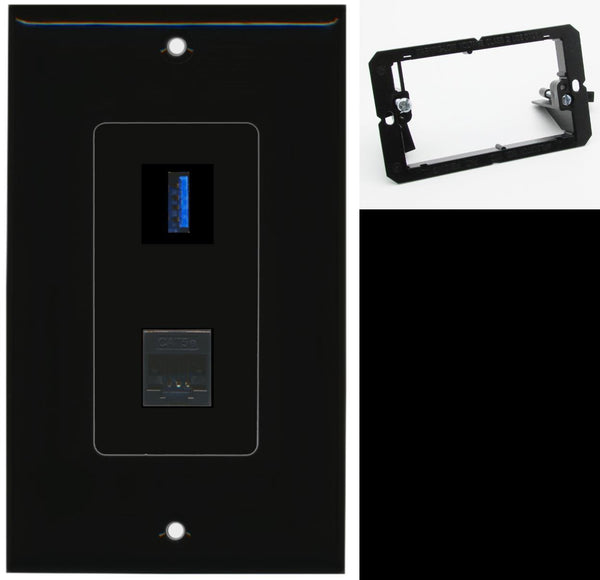 1 Port USB 3.0 A-A Cat5e Ethernet Wall Plate DecorZ Black w/Mounting Bracket