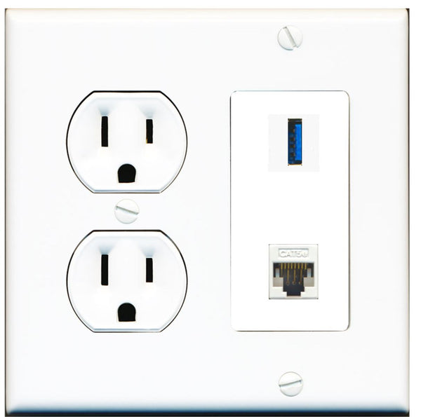1 Port USB 3.0 A-A Cat5e Ethernet Wall Plate w/Round Power Outlet