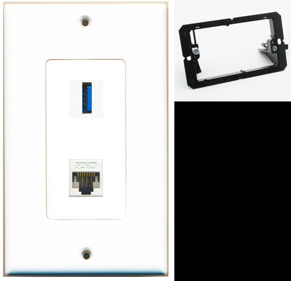1 Port USB 3.0 A-A Cat5e Ethernet Wall Plate DecorZ White w/Mounting Bracket