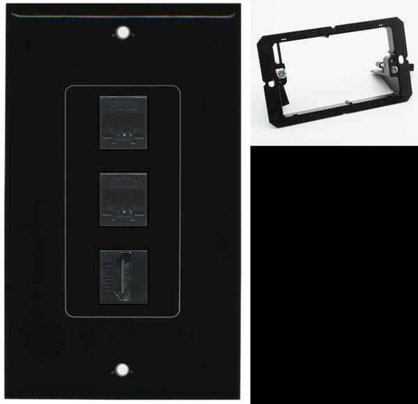 2 Port Cat5e Ethernet HDMI Wall Plate DecorZ Black w/Mounting Bracket
