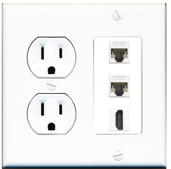 2 Port Cat5e Ethernet HDMI Wall Plate w/Round Power Outlet